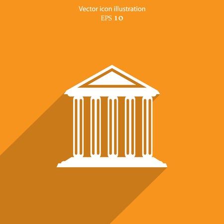 university building: Vector bank school university building web icon Eps 10. Illustration