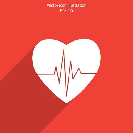 Vector cardiogram or heart rhythm medical icon. Eps 10.