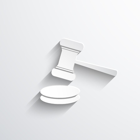 arbitrate: Vector hammer judge web icon. Eps 10.