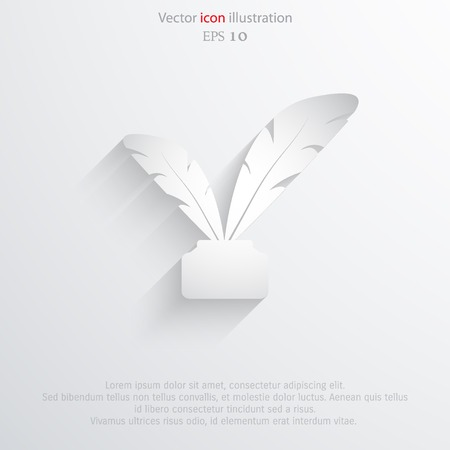 feather pen: Vector feather pen web icon. Eps 10.