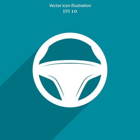 airbag: Vector steering wheel web icon. Eps 10.
