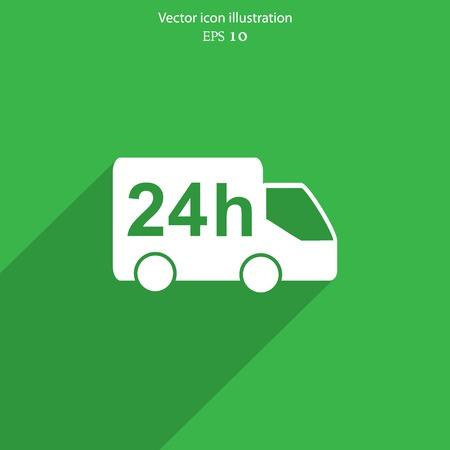 Vector 24 hour delivery web icon. Eps 10. Vector