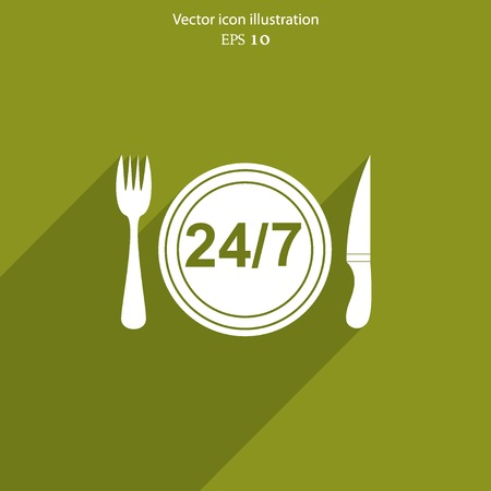 24 hour: Vector 24 hour delivery food service. Eps 10.