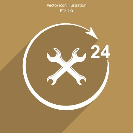 reconditioning: Vector repair icon 24 hours service Eps 10.