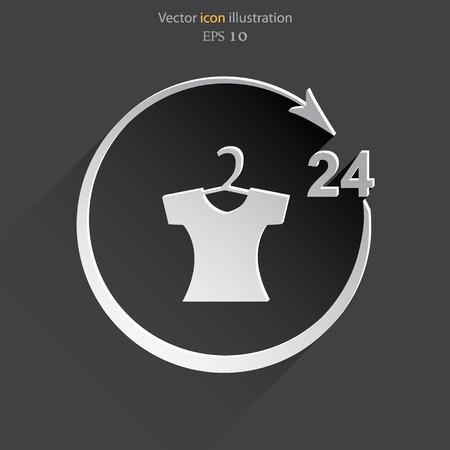 24h: Vector dress shop 24 hours service Eps 10.