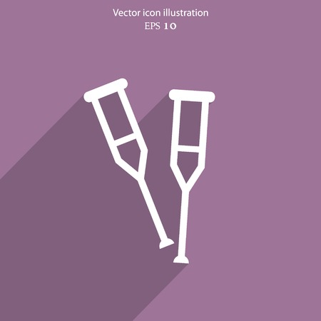 crutch: Vector crutch flat icon. Illustration