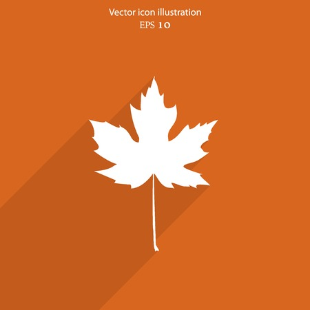 maple leaf: Vector maple leaf flat web icon. Illustration