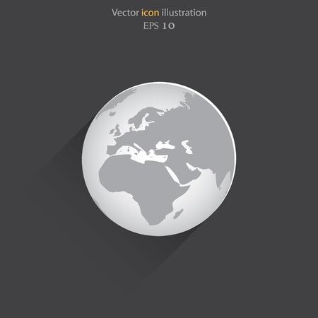 realist: Vector globe flat web icon.