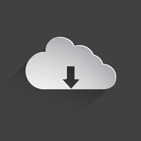download cloud: Download cloud flat icon.