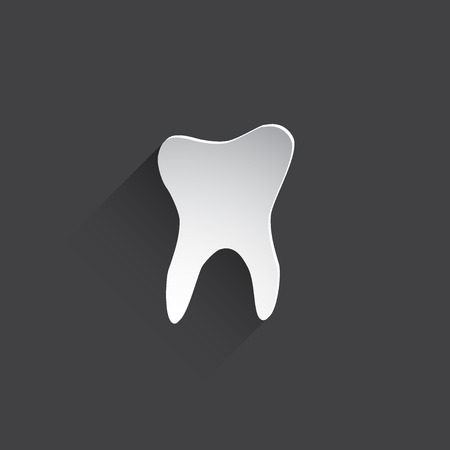 mouth pain: tooth flat icon.