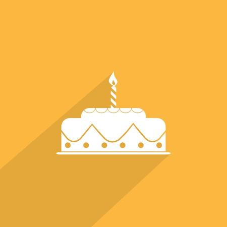 porcion de torta: pastel de cumplea�os icono de la web. Foto de archivo