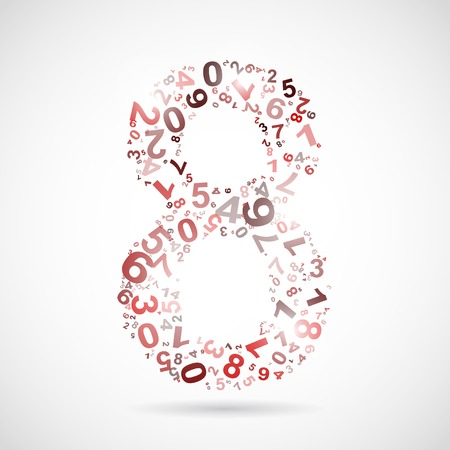 numeracy: Vector number eight from numbers.