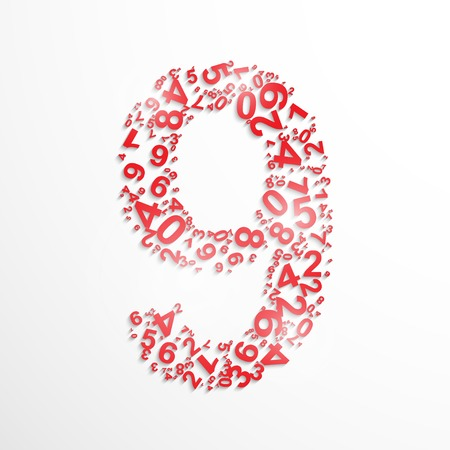 numeracy: Vector number nine from numbers.