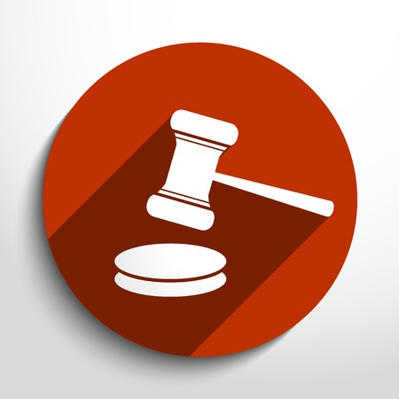 legal court: Vector hammer judge web icon.