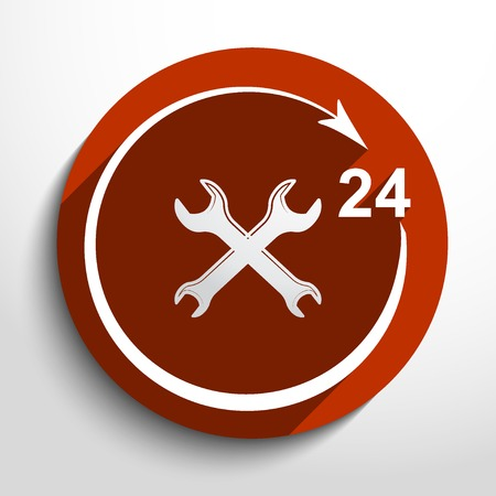 reconditioning: Vector repair icon. 24 hours service. Illustration