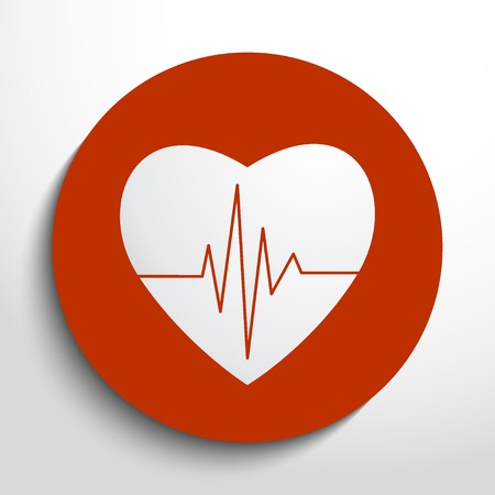 rhythm: Vector cardiogram or heart rhythm medical icon.