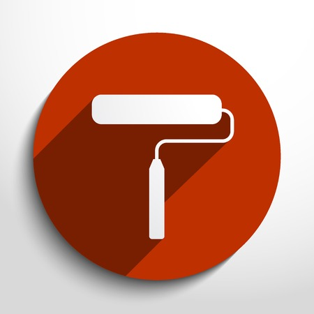 solvent: Vector paint roller web icon.
