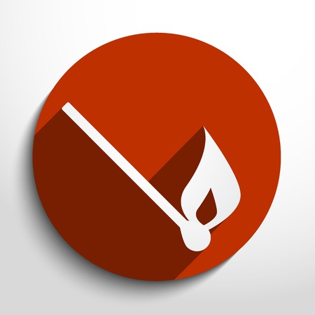 Vector burning match web icon. Vector