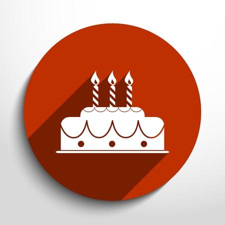Vector birthday cake web icon.