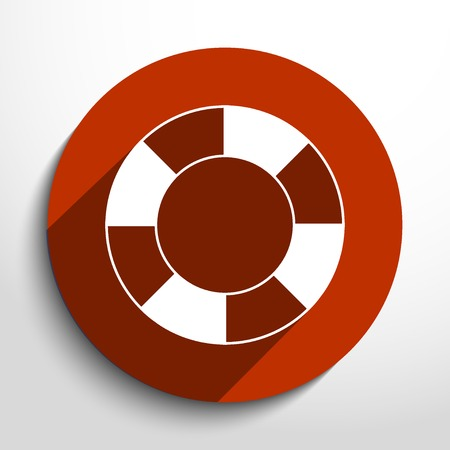 life guard: Vector lifebuoy web flat icon.