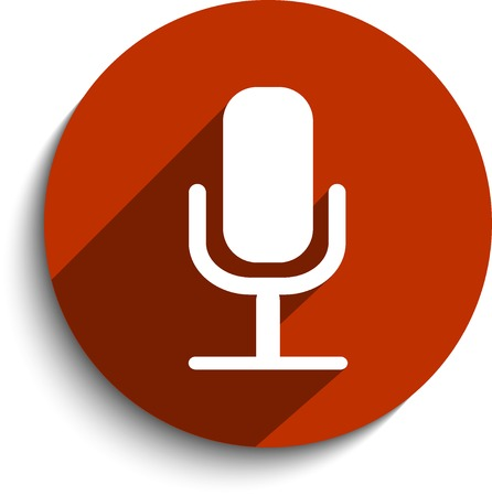 Vector microphone web flat icon.