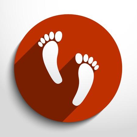 theft proof: Vector Human foot print web flat icon.