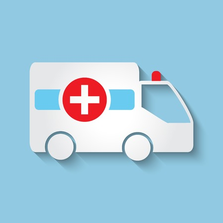medical emergency service: Vector ambulance car flat icon.