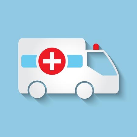 response: Vector ambulance car flat icon.