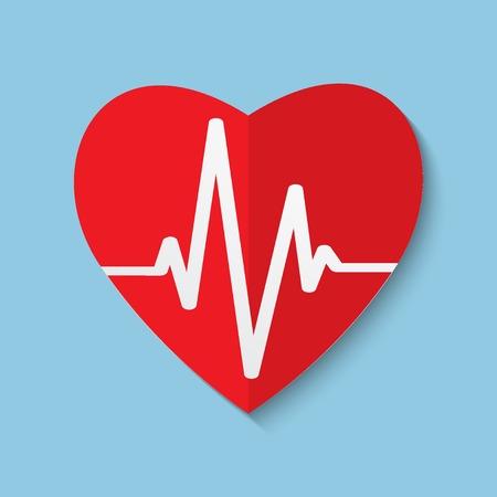 Vector cardiogram or heart rhythm medical icon. Vector