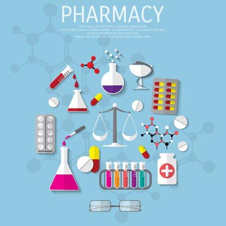 magnetism: Vector pharmacy flat medical background. Illustration
