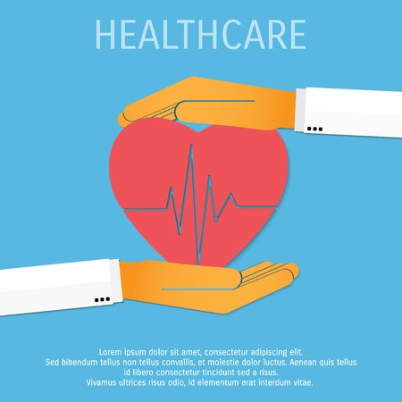 hand beats: Vector medicine and healthcare background.