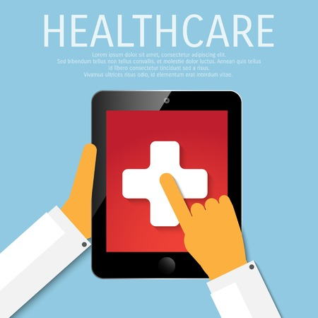 cellphone in hand: Vector healthcare tools in device.