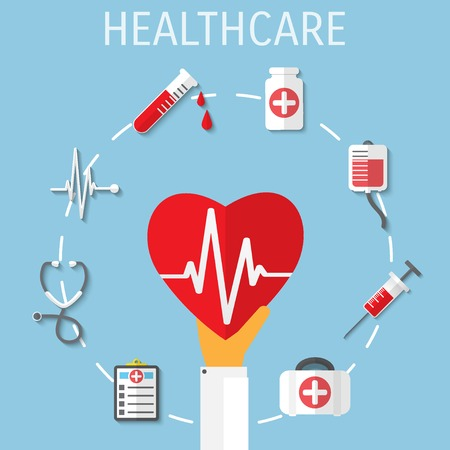 Vector healthcare medical flat background.