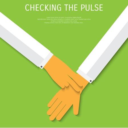 taking pulse: Vector pulse test medical flat background. Illustration