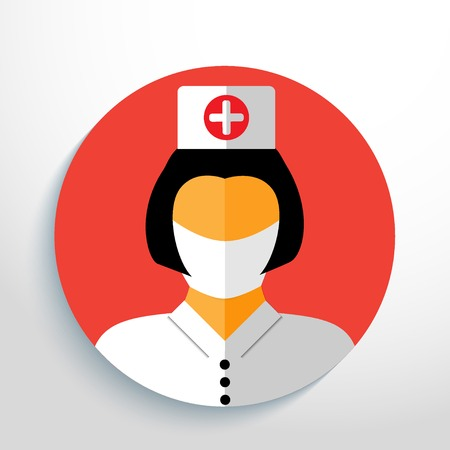 gauze: nurse with gauze bandage. Illustration