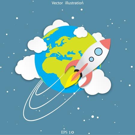 Vector flat rocket web icon.  イラスト・ベクター素材