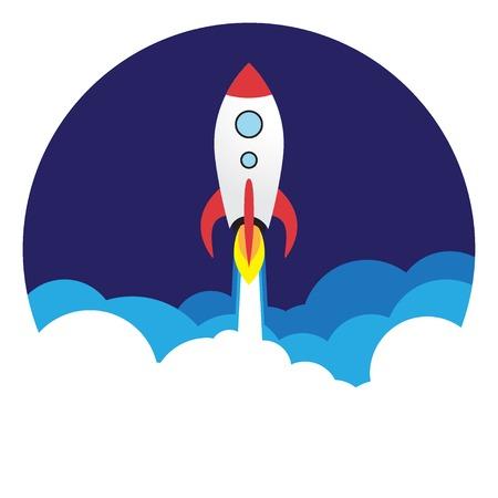 Vector flat rocket web icon. Ilustração