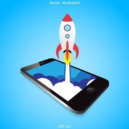 Vector flat rocket web icon. Illustration