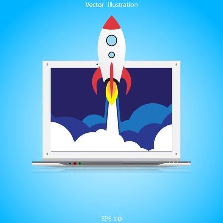 stabilizer: Vector flat rocket web icon. Illustration