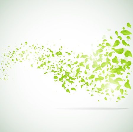 light green: Vector wave background with leaves.