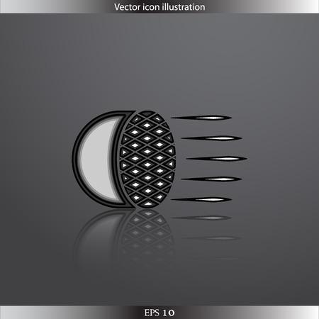 headlight: Vector Car headlight web flat icon Illustration