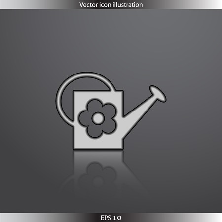 bailer: Vector watering can web flat icon