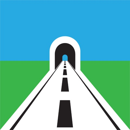 highway tunnels: road with tunnel web flat icon Illustration
