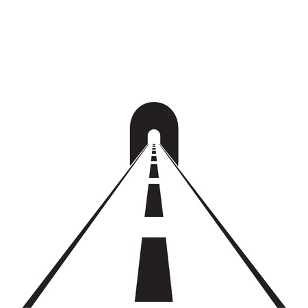 road with tunnel web flat icon Illustration