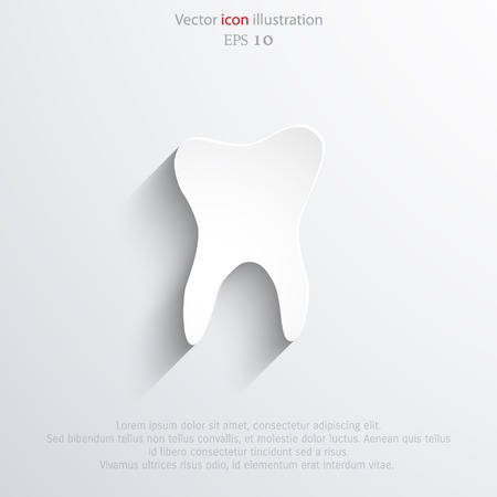 mouth pain: Vector tooth flat icon. Illustration