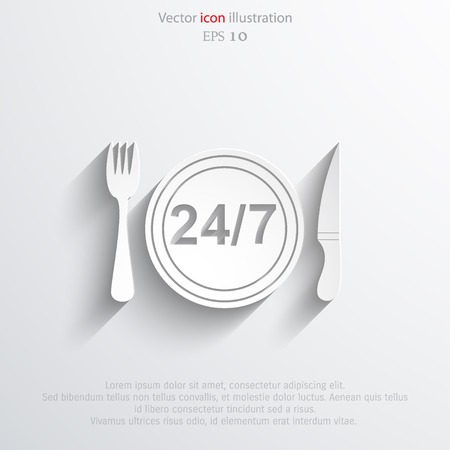 24 hour: Vector 24 hour delivery food service.