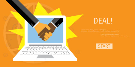 business deal: Online deal. Handshake of two business people. Concepts for web banners and promotional materials.