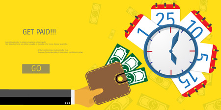 banking and finance: Business concept for online internet banking, finance investment, pay day, time is money.