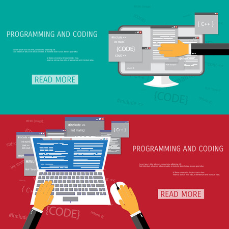 globális kommunikációs: Vector flat concept of programming and coding. Network technology. Search engine optimization. Internet and global communication. Concepts for web banners and promotional materials.