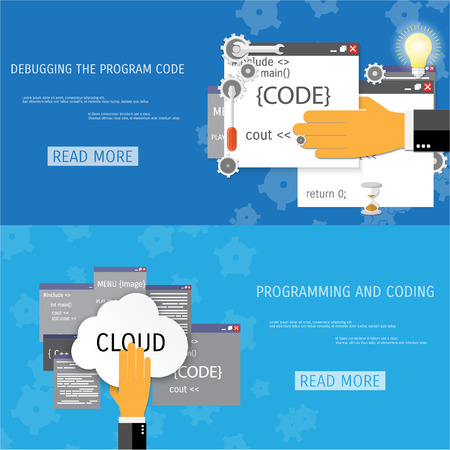 debug: Vector flat concept of programming and coding. Network technology. Search engine optimization. Internet and global communication. Concepts for web banners and promotional materials.